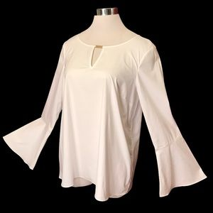 White Shirt Bell Sleeve Blouse Top w Gold Accent M